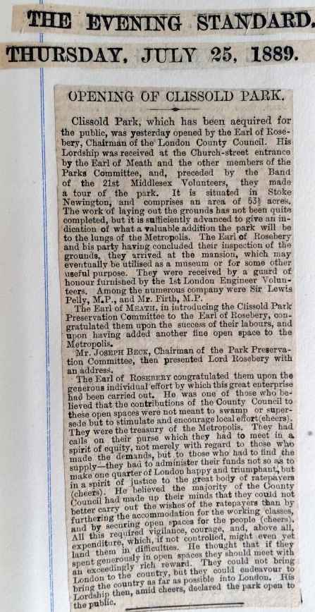 25_07_1889 NEWS CLIPPING Opening of Clissold Park Evening Standard