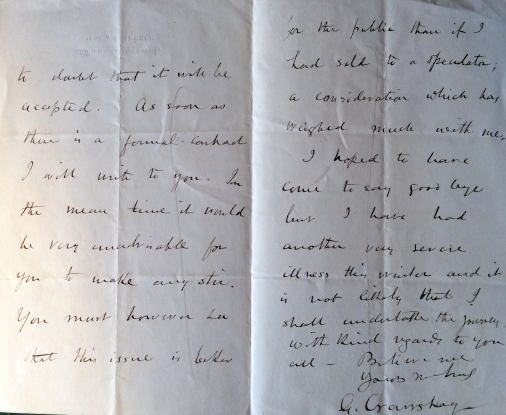 02_05_1886 Letter George Crawshay part 2