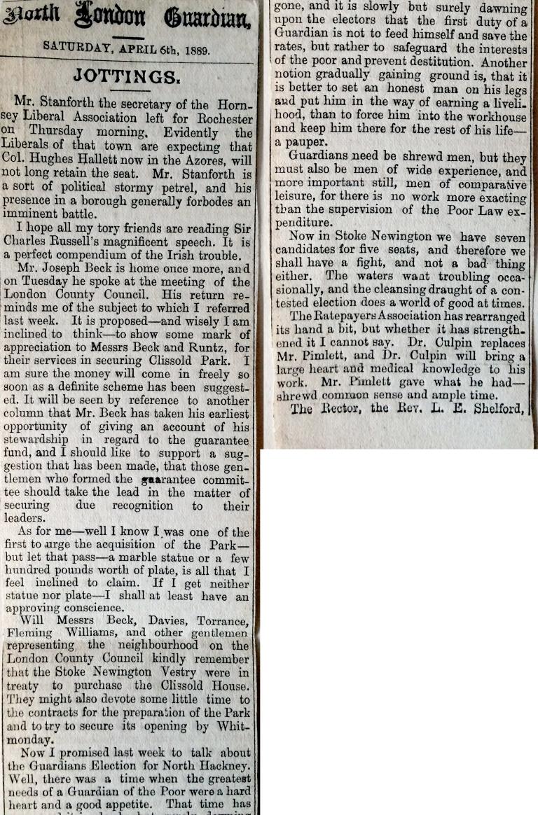 06_04_1889 NEWS CLIPPING North London Guardian part1.JPG