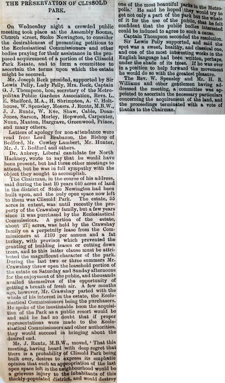 07_1886 NEWS CLIPPING The Preservation of Clissold Park