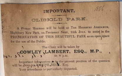 08_07_1886 Notice of public meeting Highbury Atheneum