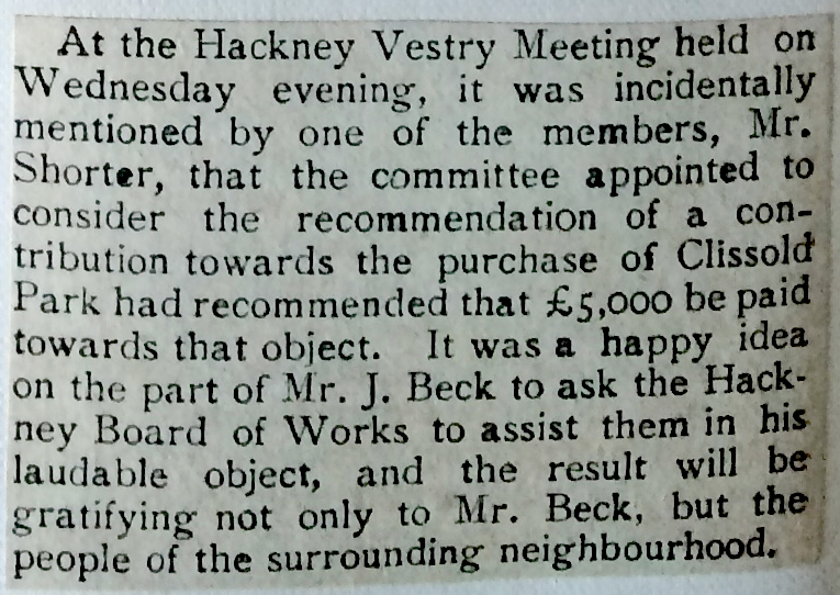 08_1888 NEWS CLIPPING Hackney Vestry