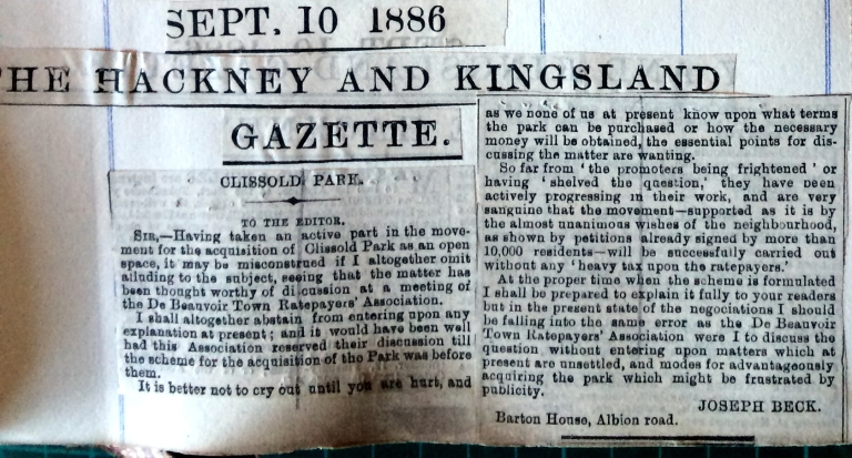 10_09_1886 NEWS CLIPPING The Hackney and Kingsland Gazette [CHECKED]