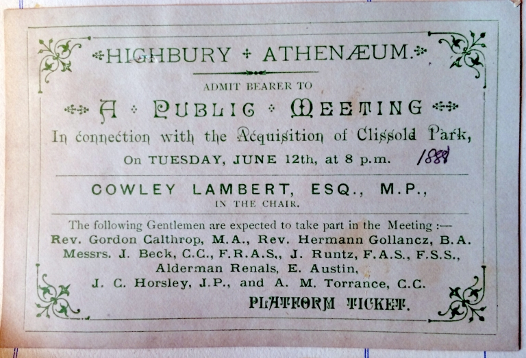 12_02_1888 Public meeting Highbury admission ticket