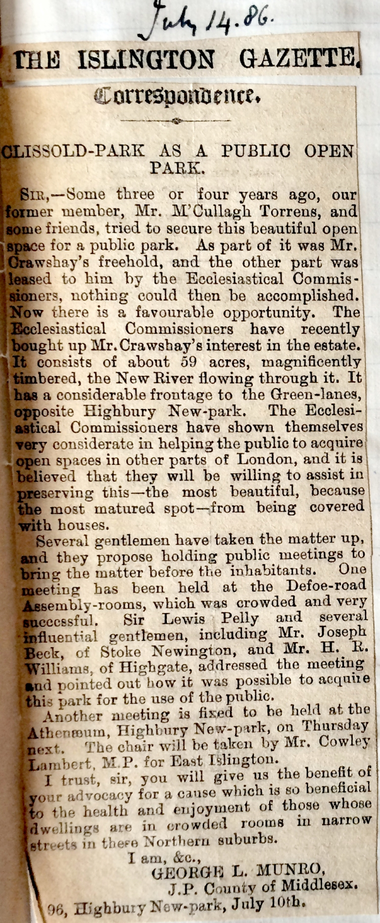 14_07_1886 NEWS CLIPPING The Islington Gazette [CHECKED]