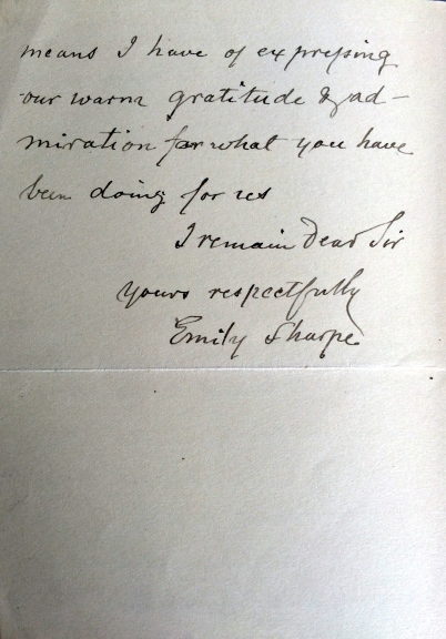15_02_1889_LETTER Thank you letter from Emily Sharpe to Joseph Beck part 2