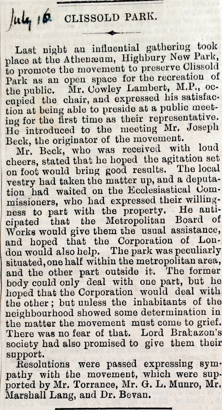 16_07_1886 NEWS CLIPPING The Hackney and Kingsland Gazette [CHECKED]