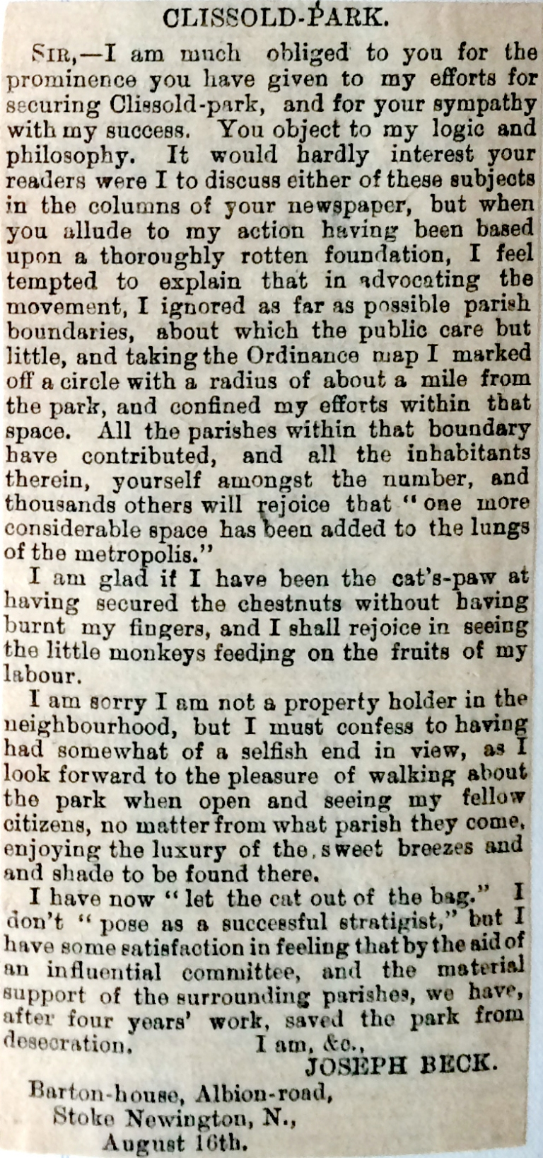 16_08_1888 NEWS CLIPPING JB Letter to the editor (possibly Islington Gazette) [CHECKED].JPG