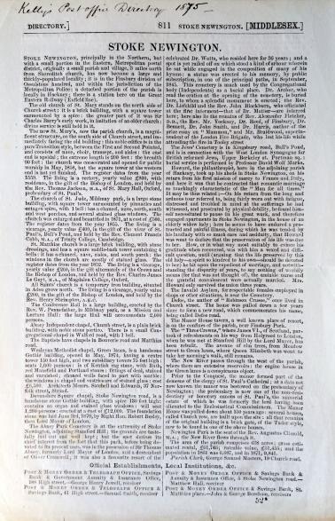 1875 Kellys directory Stoke Newington part 1