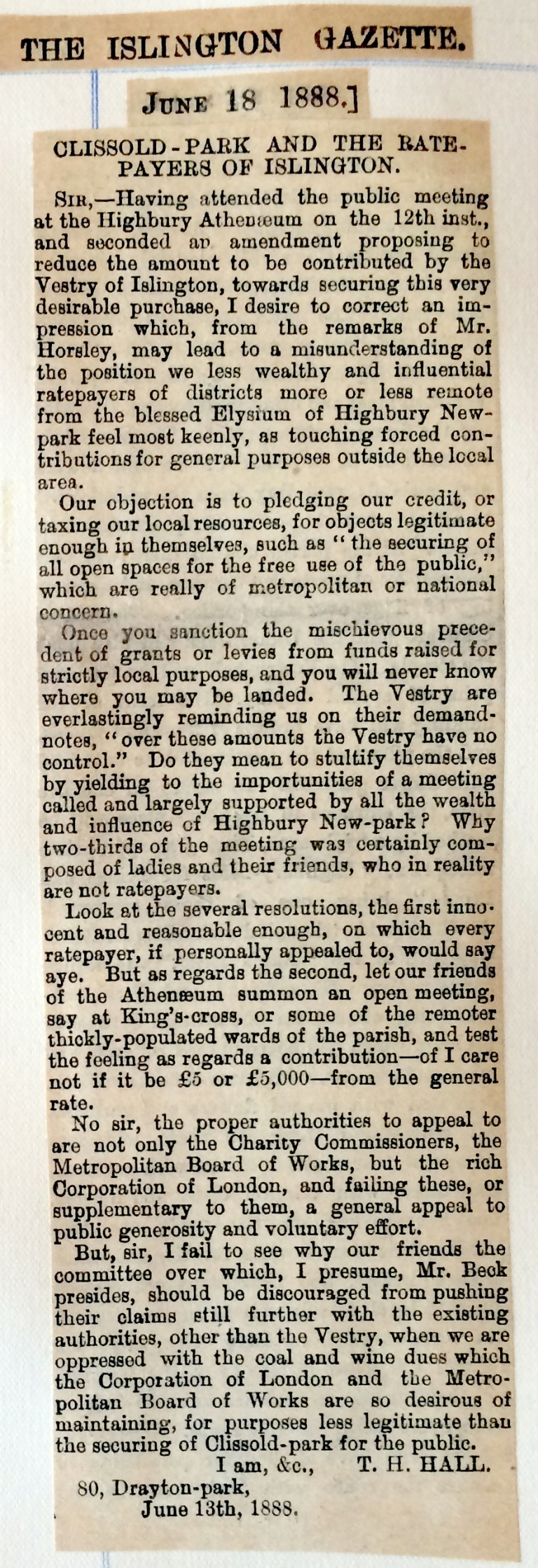 18_06_1888 NEWS CLIPPING Letter to the Islington Gazette [CHECKED].JPG