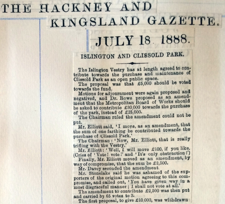18_07_1888 NEWS CLIPPING Hackney and Kingsland Gazette