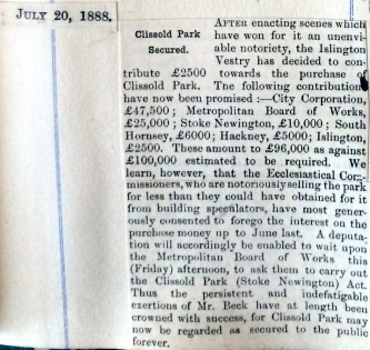 20_07_1888 NEWS CLIPPING Clissold Park secured [CHECKED]