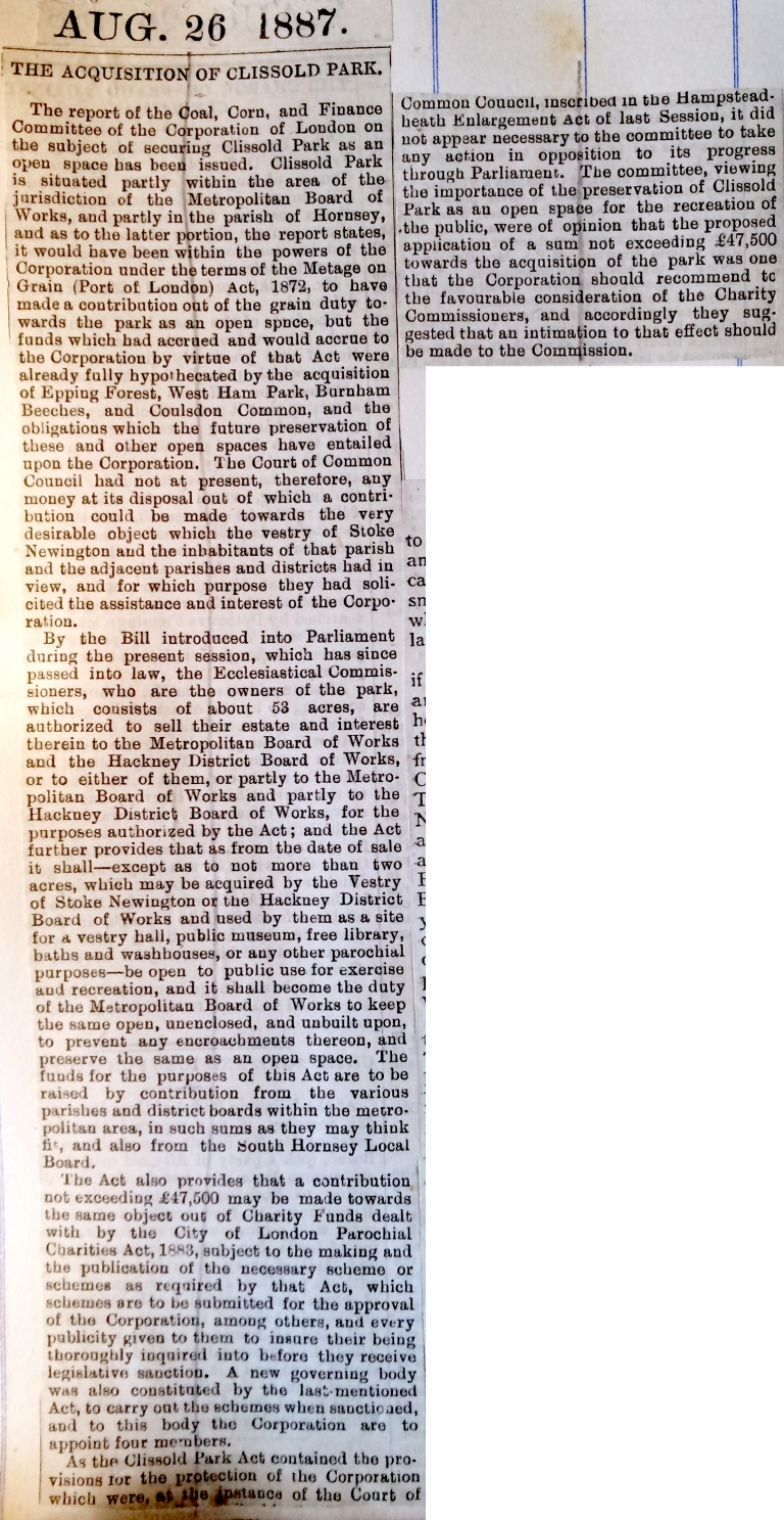26_08_1887 NEWS CLIPPING The acquisition of Clissold Park [CHECKED] 2
