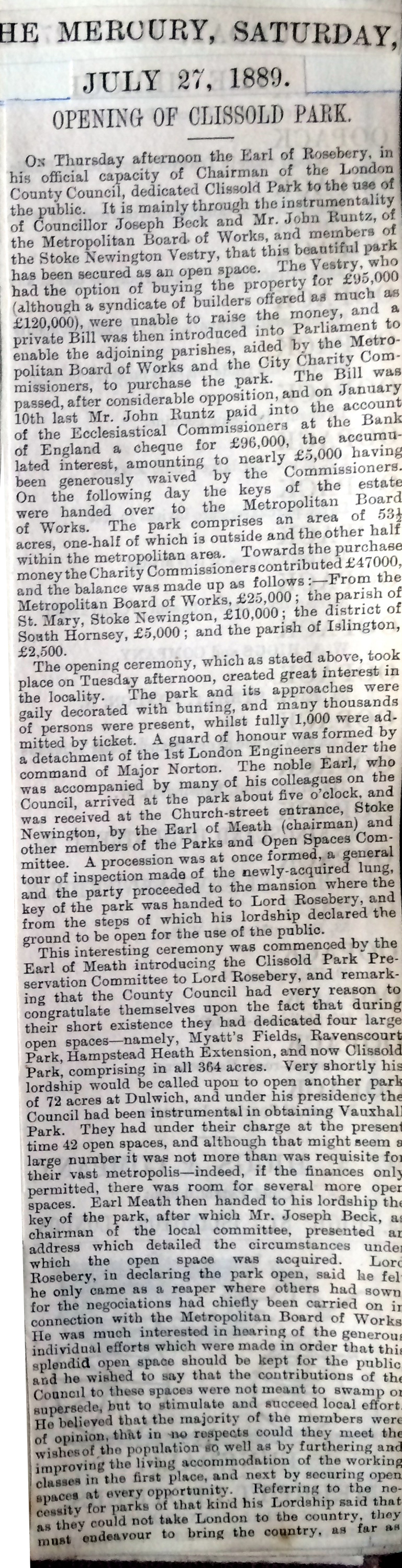 27_07_1889 NEWS CLIPPING Opening of Clissold Park The Mercury