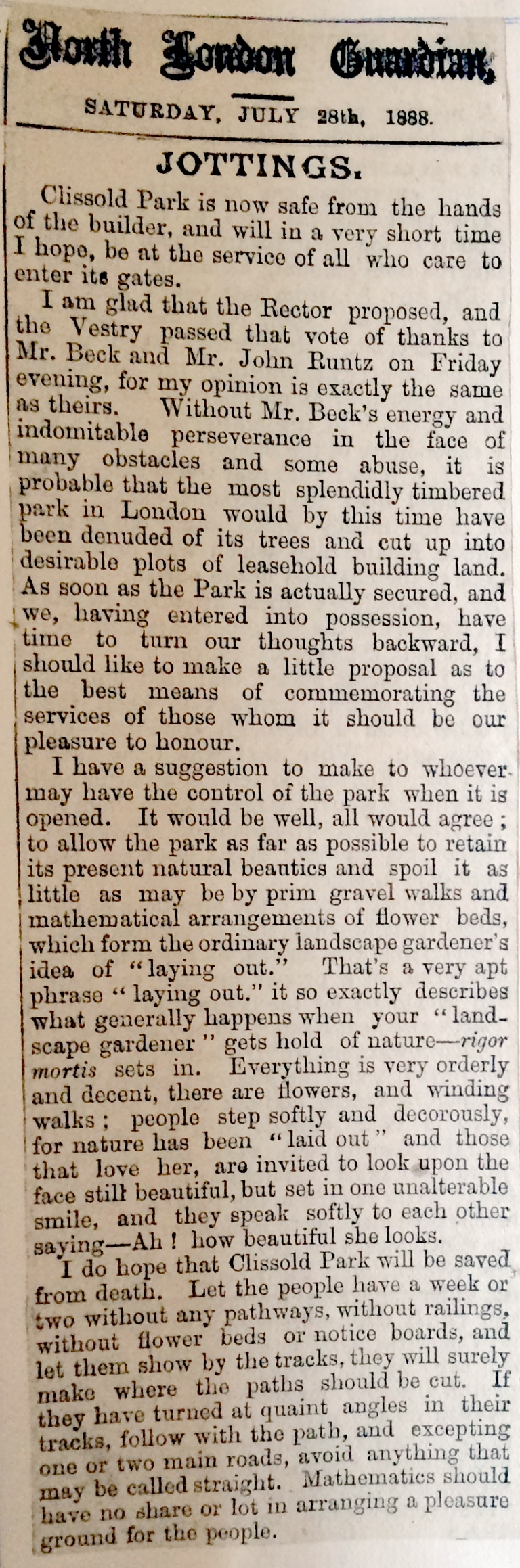 28_07_1888 NEWS CLIPPING North London Guardian 2