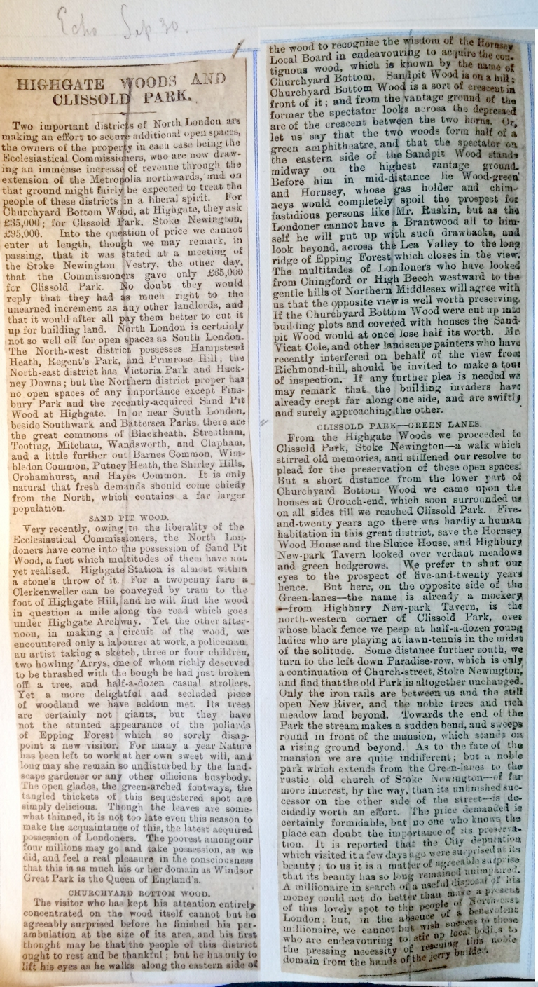 30_09_1886 NEWS CLIPPING Highgate Woods and Clissold Park [CHCKED].JPG