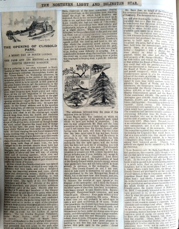 July 1889 NEWS CLIPPING The Opening of Clissold Park part 1